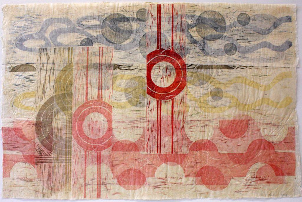 Taina Kokkonen: Asiat aaltoilee 5, 2020, paperikollaasi (puupiirros), 51 x 77 cm